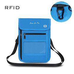 ROOSALANCE Travel Neck Pouch Neck Stash Wallet with RFID Blocking Premium Family Passport Holder ...