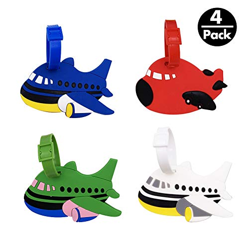 Mziart Set of 4 Cute Cartoon Airplane Luggage Tags Fun Suitcase Bag Identify Label TSA Airlines  ...