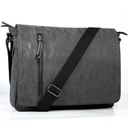 Laptop Messenger Bag for Men and Women,Tocode Vintage Canvas Messenger Bag Waterproof PU Leather ...