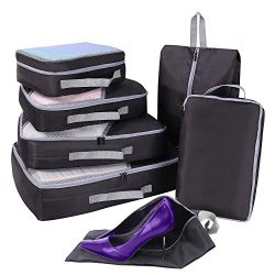 Packing Cubes for Travel Set 7Pcs, Faxsthy Mesh Luggage Cubes, Luggage Packing Organizers with S ...