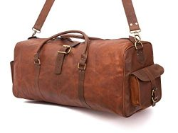 Leather Native New Large Men's Leather Vintage 24″ Duffle Luggage Weekend Gym Overni ...