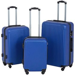 Suitcase 3 Piece Luggage Sets Travel Carry on Lightweight Durable Spinner Eco-friendly Blue with ...