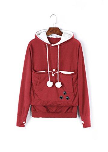 Unisex Big Kangaroo Pouch Hoodie Long Sleeve Pet Dog Holder Carrier Sweatshirt,Red,Large