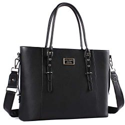 MOSISO Laptop Tote Bag for Women (Up to 15.6 Inch), Water Resistant PU Leather Large Capacity wi ...