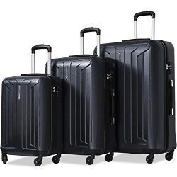 Flieks Luggage 3 Piece Sets Spinner Suitcase with TSA Lock, Lightweight 20 24 28 in (black)