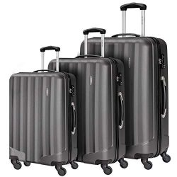 Durable 3 Pcs Luggage Sets, Hardshell Spinner Suitcase with TSA Approved Locks,Lightweight Carry ...