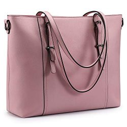 S-ZONE Leather Laptop Bag for Women Fits up to 15.6 inch Business Tote Shoulder Bag Purse (Pink)