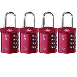 4 Digit TSA Approved Luggage Lock, 4 Pack Red, Inspection Indicator, Alloy Body