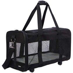 AmazonBasics Soft-Sided Pet Travel Carrier with Wheels, Large
