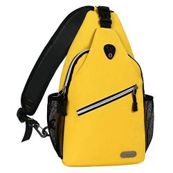 MOSISO Sling Backpack, Multipurpose Crossbody Shoulder Bag Travel Hiking Daypack, Yellow