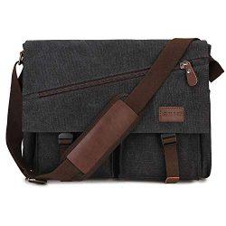 Messenger Bag For Men,Water Resistant Unisex Canvas Shoulder Bag Fits 14 Inch Laptop School Satc ...