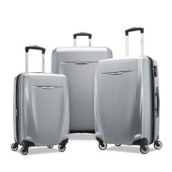 Samsonite Winfield 3 DLX Hardside Checked Luggage with Spinner Wheels, 3-Piece (20/24/28), Silver