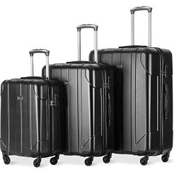 Merax Luggage 3 Piece Set P.E.T Luggage Spinner Suitcase Lightweight 20 24 28inch (Black)