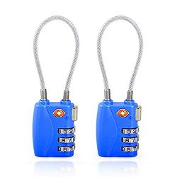 Luggage Lock, TSA Approved Luggage Locks, Cable Travel Lock, Safe Padlock for Gym, School, Suitc ...