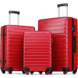 Flieks Luggage Sets 3 Piece Spinner Suitcase Lightweight 20 24 28 inch (Red)