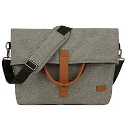 Lekesky Laptop Messenger Bags 15.6″ Water Resistant Shoulder Bag for Men and Women, Grey