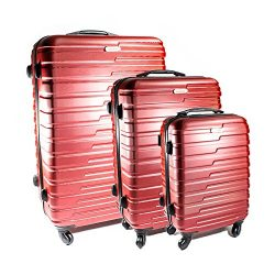 ALEKO LG915BURG ABS Luggage Travel Suitcase Set with Lock 3 Piece Horizontal Stripe Burgundy