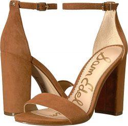 Sam Edelman Women's Yaro Ankle Strap Sandal Heel Luggage Kid Suede Leather 10 W US