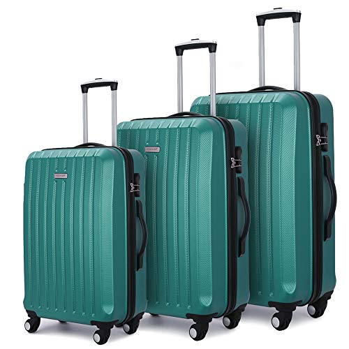 Luggage 3 Piece set ABS Hardshell with Spinner Durable and Lightweight 3 PC Suitcase sets 20 24  ...