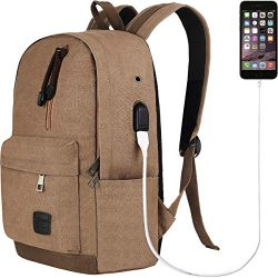 Doingbag Backpack with USB Charging Port Laptop Backpack Travel Bag Camping Outdoor (Coffee)