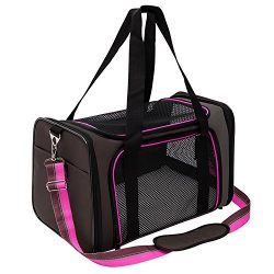 Pet Carrier Compatible Dog and Cats, Airline Approved Bag, Travel Collapsible for Small Puppy Up ...