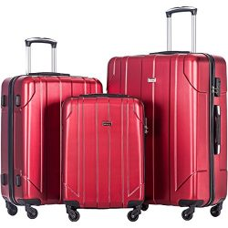 Merax 3 Piece P.E.T Luggage Set Eco-friendly Light Weight Spinner Suitcase (red)