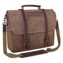 Mens Messenger Bag 15.6 Inch Waterproof Vintage Waxed Canvas Satchel Briefcase Shoulder Bag Retr ...
