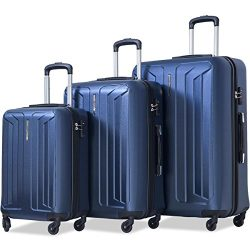 Flieks Luggage 3 Piece Sets Spinner Suitcase with TSA Lock, Lightweight 20 24 28 (Blue)