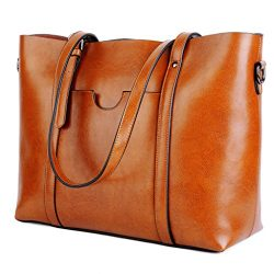 YALUXE Women's Vintage Style Soft Leather Work Tote Large Shoulder Bag Brown