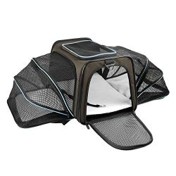 X-ZONE PET Expandable Travel Dog Carrier with Fleece Mat, Most Airline Approved Pet Carrier for  ...