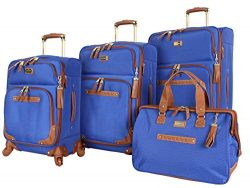 Steve Madden Luggage 4 piece Spinner Suitcase Collection (Blue)