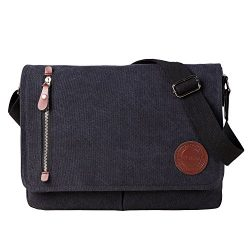 Vintage Canvas Satchel Messenger Bag for Men Women,Travel Shoulder Bag 13.5″ Laptop Bags B ...