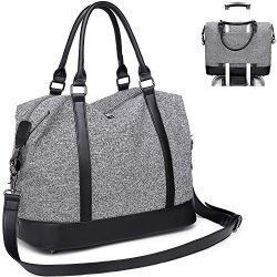 CAMTOP Women Travel Tote Overnight Weekender Carry On Bag With Luggage Sleeve (A Gray)