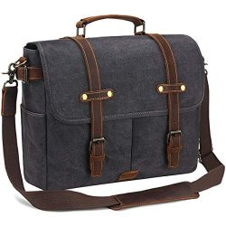 SOAEON Mens Messenger Bag,Laptop Bag 15.6 inch,Waterproof Vintage Canvas Briefcase, Leather Comp ...