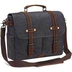 SOAEON Mens Messenger Bag,Laptop Bag 15.6 inch,Waterproof Vintage Canvas Briefcase, Leather Comp ...