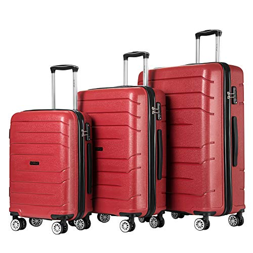 Luggage Sets Hard Suitcase Set Suitcases 3 Piece Set with TSA Lock Spinner (Red NEW)