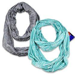 (2 Pack) Infinity & Soft Scarf with Hidden Zipper Pocket Bundle Set | Winter Spring Summer F ...