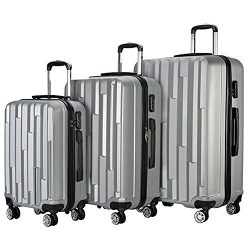Resena 3 Pieces Diamond Luggage Sets Carry On Spinner Luggage Suitcase (20″ 24″ 28&# ...