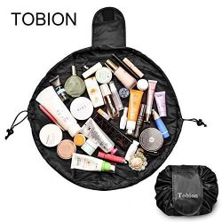 Lazy Portable Makeup Bag Large Capacity Waterproof Drawstring Cosmetic Bag Travel Makeup Pouch M ...