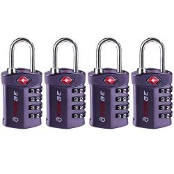 4 Digit TSA Approved Luggage Lock, 4 Pack Gray, Inspection Indicator, Alloy Body
