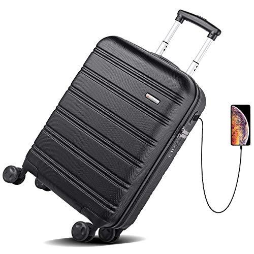 d681b917348f REYLEO Hardside Spinner Luggage 20 Inch Carry On Luggage Lightweight ...
