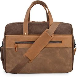Mens Messenger Bag 15.6 Inch Genuine Leather Laptop Briefcase Waterproof Waxed Canvas Travel Lap ...