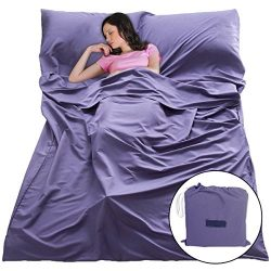 Sleeping Bag Liners Sleep Sack Lightweight Portable Sleeping Sheet Dirt-Proof Compact Travel Cam ...