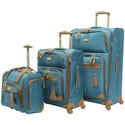 Steve Madden Luggage 3 Piece Softside Spinner Suitcase Set Collection (Harlo Teal Blue)