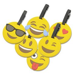 6 Pack Emoji Suitcase Travel ID Label Tag Holders for Luggage Handles