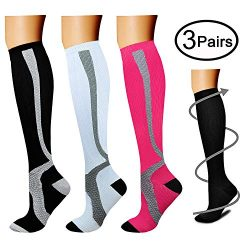 Compression Socks (3 Pairs), 15-20 mmHg is Best Athletic & Medical for Men & Women, Runn ...