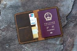 Hand Stitched Personalized leather passport card case/passport wallet/vintage retro distressed l ...