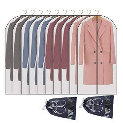 Perber Hanging Garment Bag Lightweight Clear Full Zipper Suit Bags (Set of 10) PEVA Moth-Proof B ...