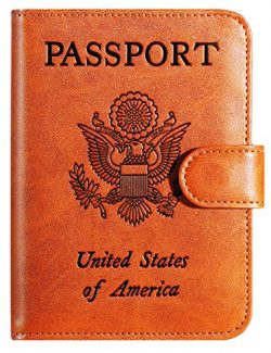 Passport Holder Cover Wallet RFID Blocking Leather Card Case Travel Accessories for Women Men (C ...