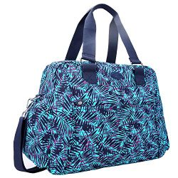 Nylon Travel Tote Cross-body Carry On Bag with shoulder strap (Leaf Blue)